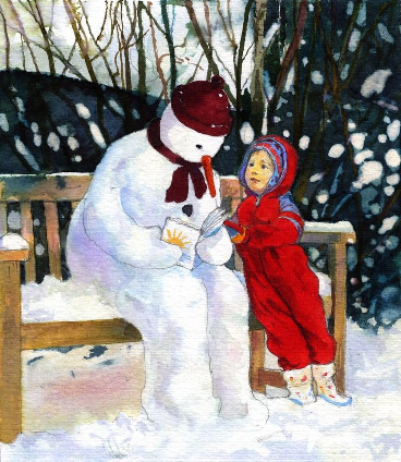 snowman reading with child